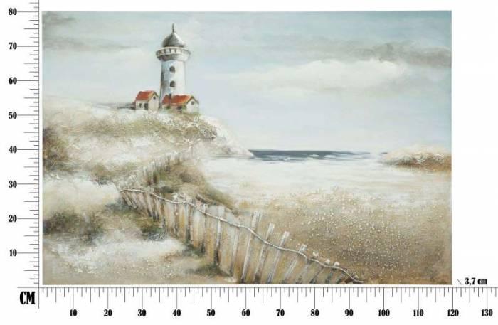 Tablou Far, 80x120x3.7 cm, lemn de pin/ plastic/ canvas, multicolor