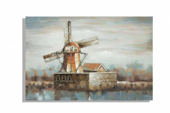 Tablou Mulino 2, 80x120x3.7 cm, lemn de pin/ plastic/ canvas, multicolor
