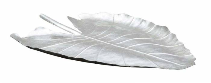 Tavă Leaf, 3x32x47,5 cm, metal, argintiu