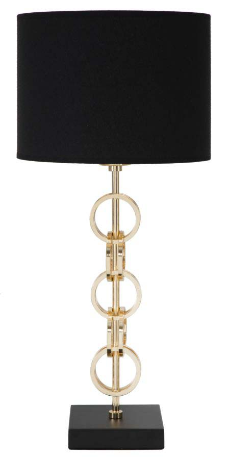Veioză Glam Rings, 54,5x25x25 cm, metal/ hartie/ textil, negru/ auriu