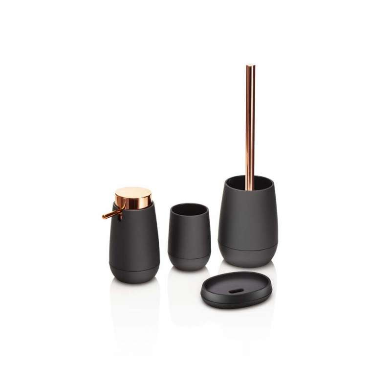 Set de accesorii pentru baie Vogue, abs/ cauciuc/ metal, negru poza