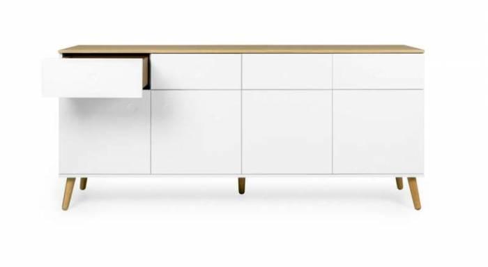 Bufet Casper cu 4 uși si 4 sertare, 86x43x192 cm, lemn/ mdf, alb