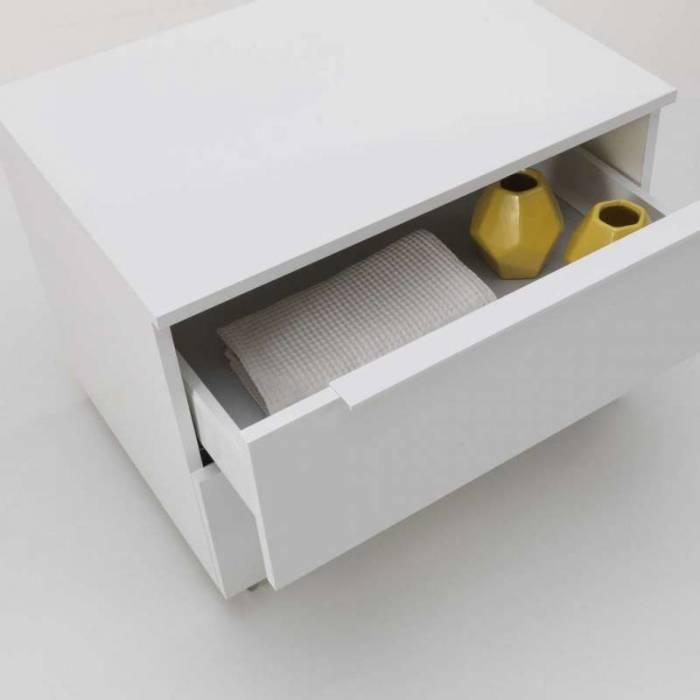 Comodă cu sertare Lins white, 57x52x70 cm, melamină, alb