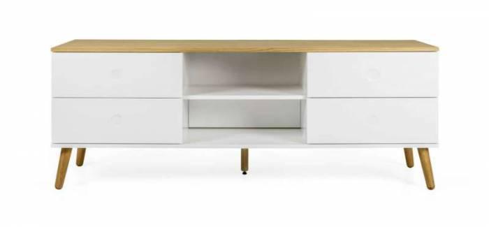 Comodă TV Casper, 60x43x162 cm, lemn/ mdf, alb