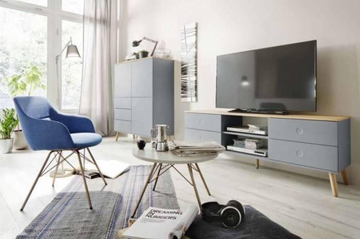Comodă TV Casper, 60x43x162 cm, lemn/ mdf, gri
