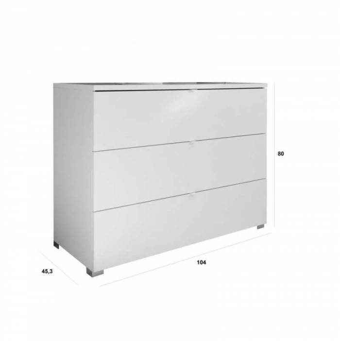 Comodă White, 80x45x104 cm, lemn, alb