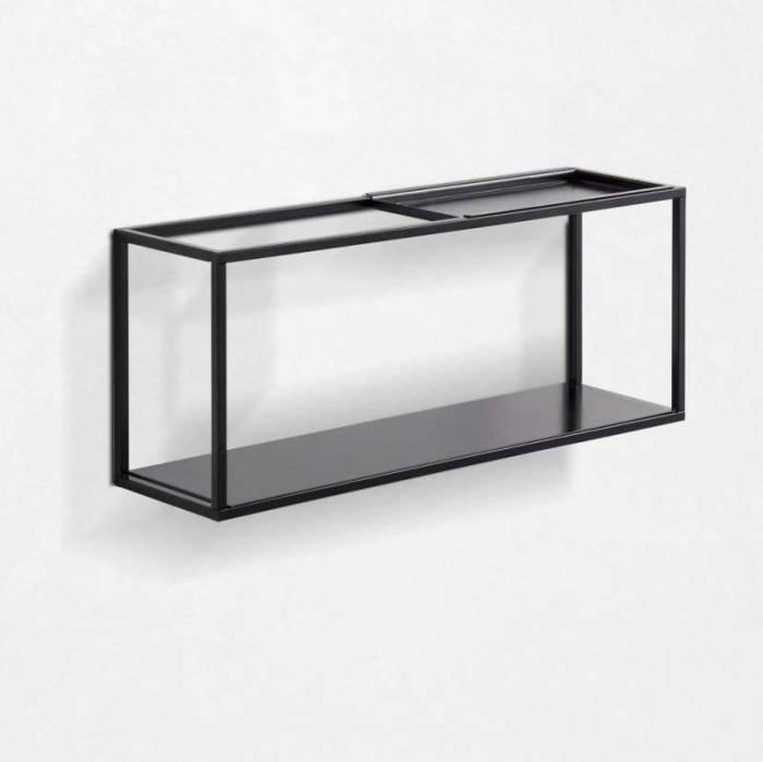 Raft cu suport culisant Eve, 18x12x45 cm, metal, negru