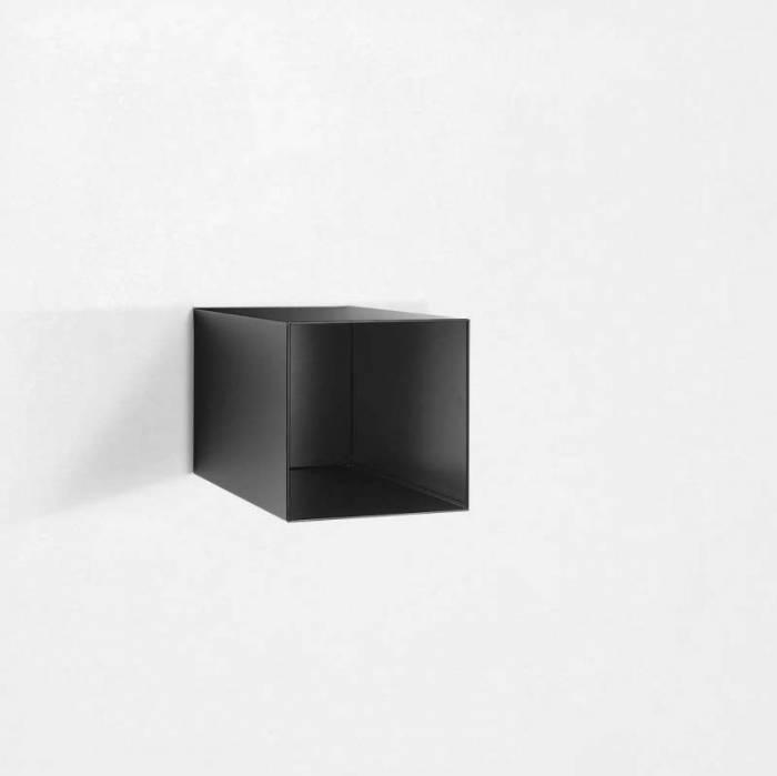 Raft de perete Riino 2, 28x45x28 cm, metal, negru