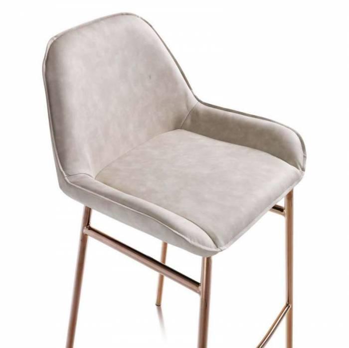 Set 2 scaune de bar Montgomery, 105x41x50 cm, metal/ microfibră, bej