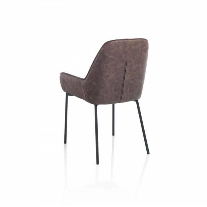 Set 4 scaune Montgomery, 89x53x54 cm, metal/ ecopiele, maro