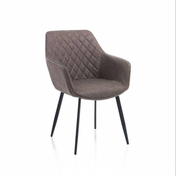 Set 2 scaune Pekoa, 87x51x58 cm, metal/ ecopiele, maro