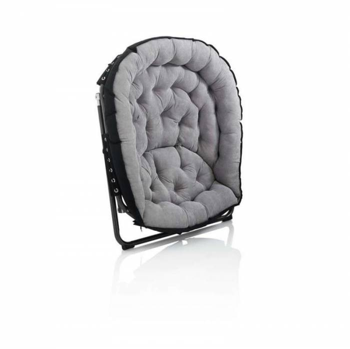 Scaun pliabil Fluffy, 92x70x77 cm, metal/ textil, gri