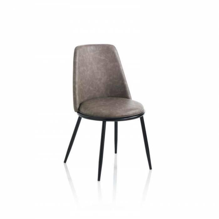 Set 4 scaune Snappy, 83x51x48 cm, metal/ ecopiele, gri