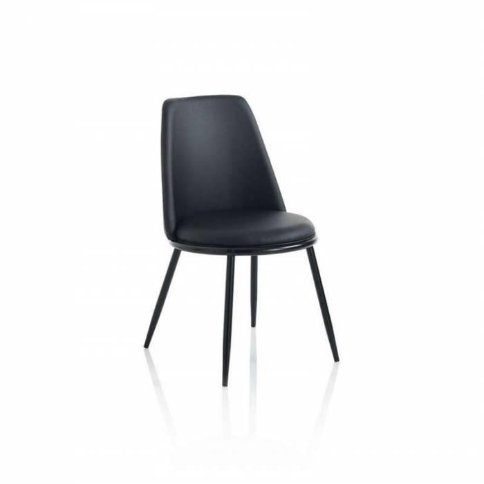 Set 4 scaune Snappy, 83x51x48 cm, metal/ ecopiele, negru