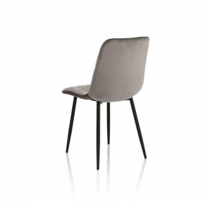 Set 4 scaune Valdina, 88x50x44 cm, metal/ catifea, gri