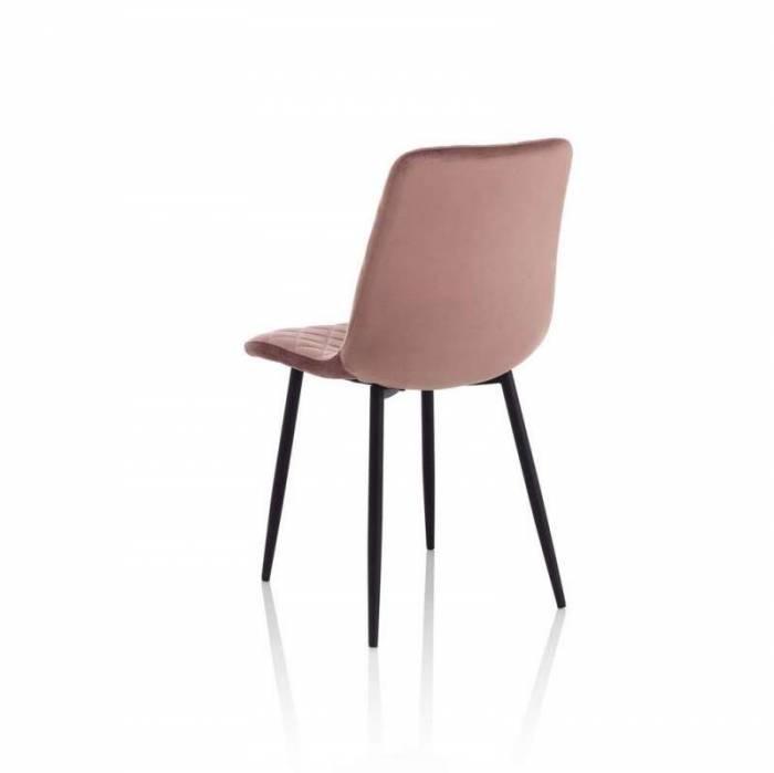 Set 4 scaune Valdina, 88x50x44 cm, metal/ catifea, roz