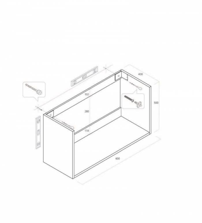 Set 4 piese de baie Malmo, 190x47x61 cm, melamină/ aluminiu/ abs/ sticlă/ ceramică/ metal, gri