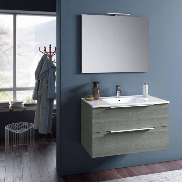 Set 4 piese de baie Malmo, 190x47x91 cm, melamină/ aluminiu/ abs/ sticlă/ ceramică/ metal, gri