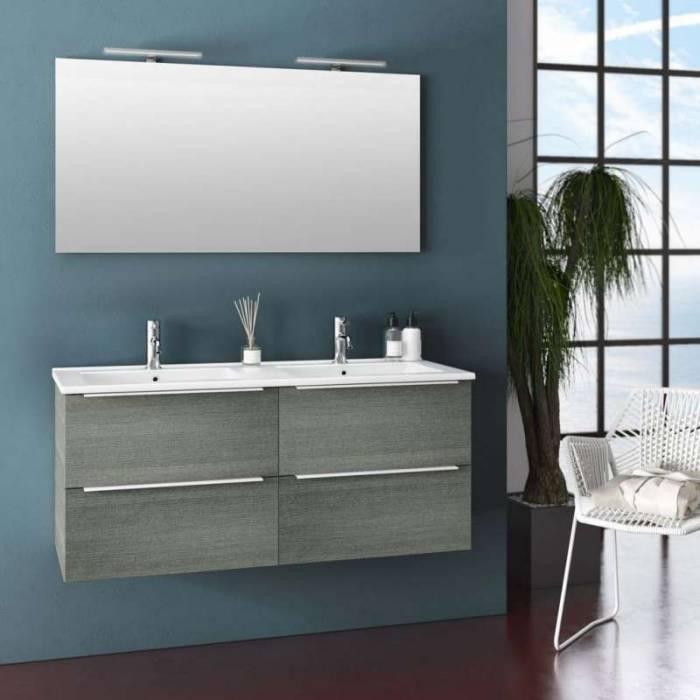Set 6 piese de baie Malmo, 190x47x121 cm, melamină/ aluminiu/ abs/ sticlă/ ceramică/ metal, gri