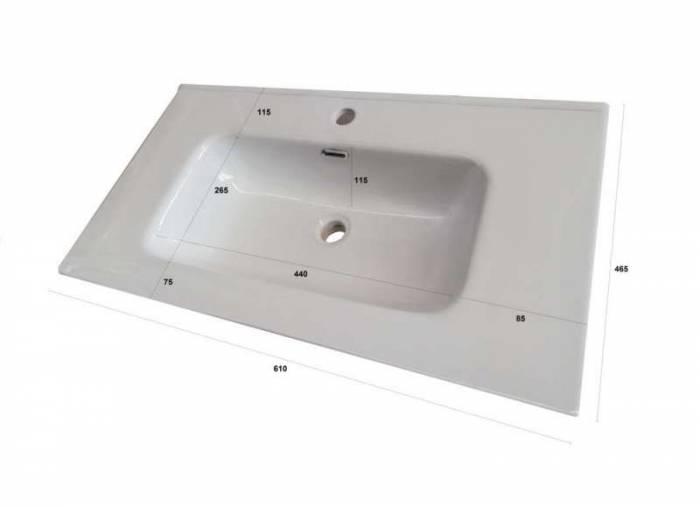 Set mobilier pentru baie One 4 piese, 190x46.5x61 cm, melamina/ aluminiu/ abs/ sticla/ ceramica/ metal, ecru