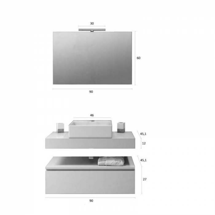 Set mobilier pentru baie Yoka 5 piese, 190x45x90 cm, melamina/ aluminiu/ abs/ sticlă/ ceramică/ metal, gri