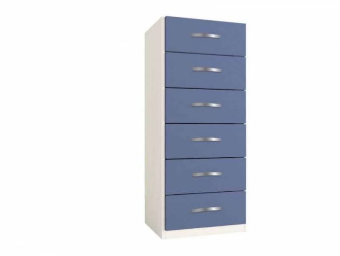 Dulap cu șase sertare Little, 119x37x47 cm, lemn, albastru