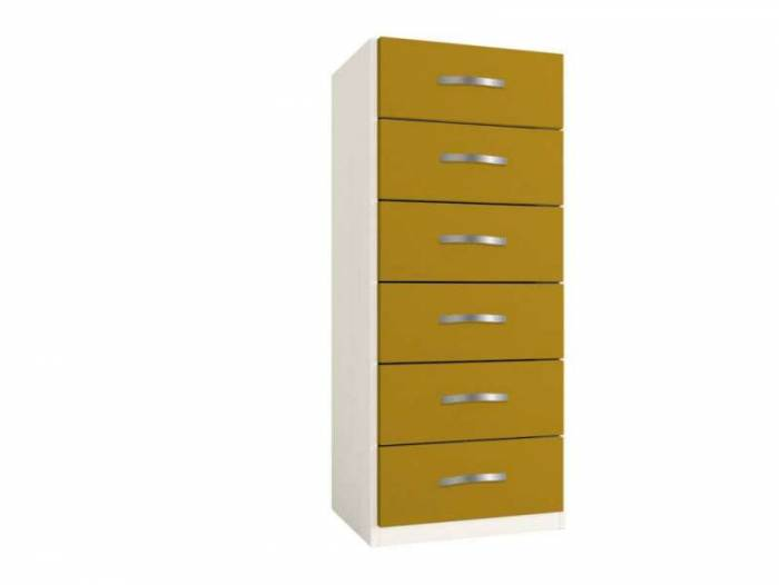 Dulap cu șase sertare Little, 119x37x47 cm, lemn, galben