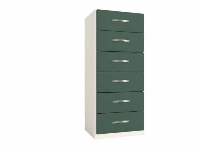 Dulap cu șase sertare Little, 119x37x47 cm, lemn, verde închis