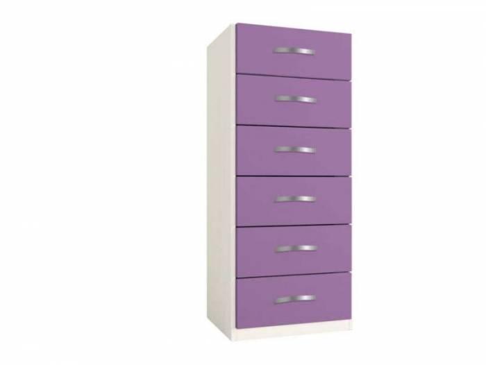 Dulap cu șase sertare Little, 119x37x47 cm, lemn, violet