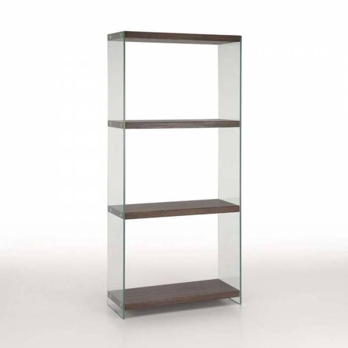 Etajeră Sal, 165x30x76 cm, sticlă/mdf, maro