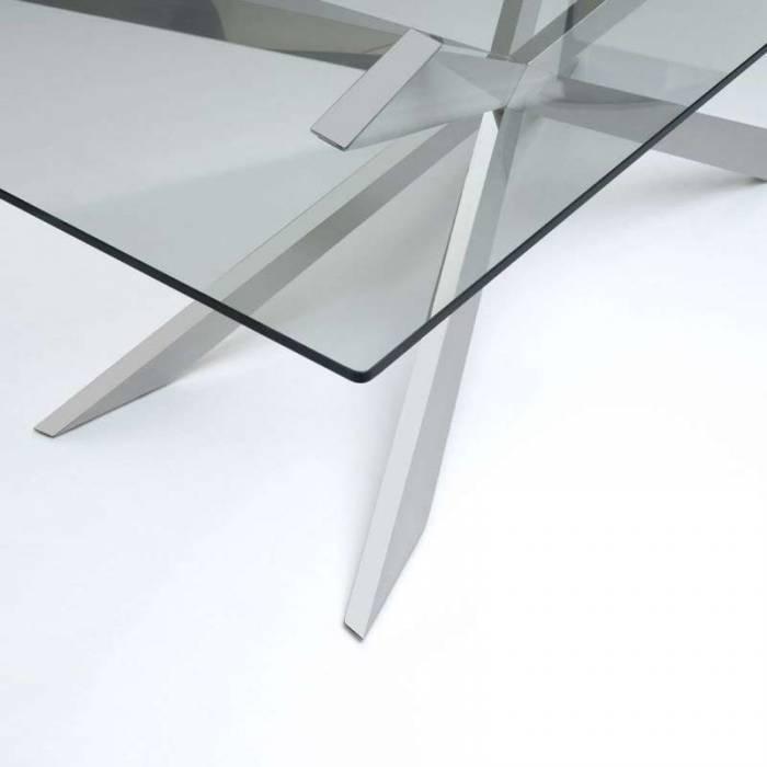Masă de living Mirto, 75x110x210 cm, metal/sticlă, crom