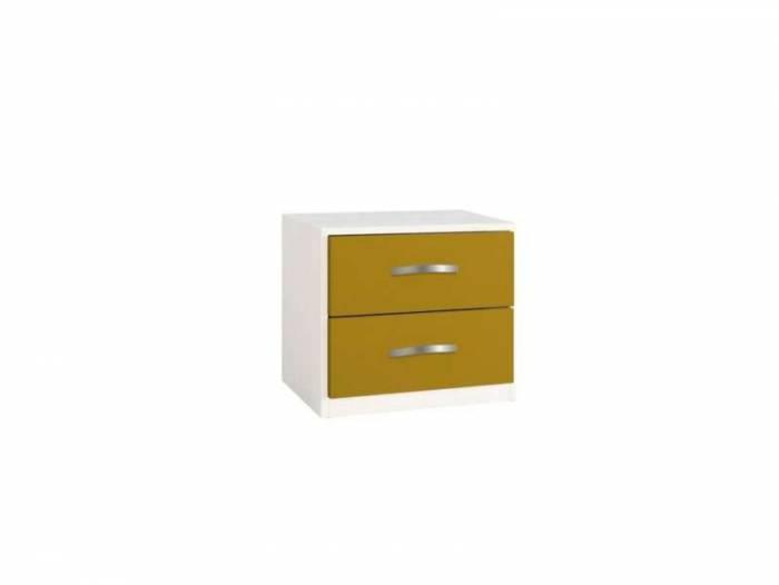 Noptieră cu două sertare Little, 43x37x47 cm, lemn, galben