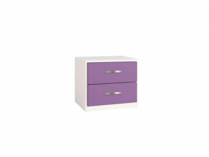 Noptieră cu două sertare Little, 43x37x47 cm, lemn, violet