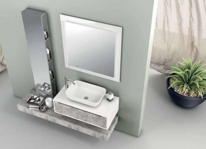 Raft cu oglindă Belsk, 160x18x32 cm, melamină/ sticlă, gri