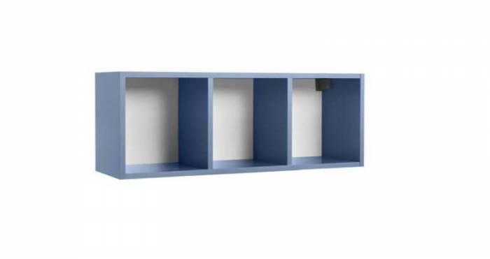 Raft de perete Little, 34x28x92 cm, lemn, albastru