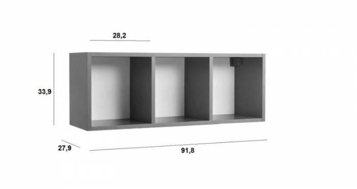 Raft de perete Little, 34x28x92 cm, lemn, galben