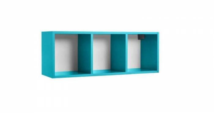 Raft de perete Little, 34x28x92 cm, lemn, turcoaz