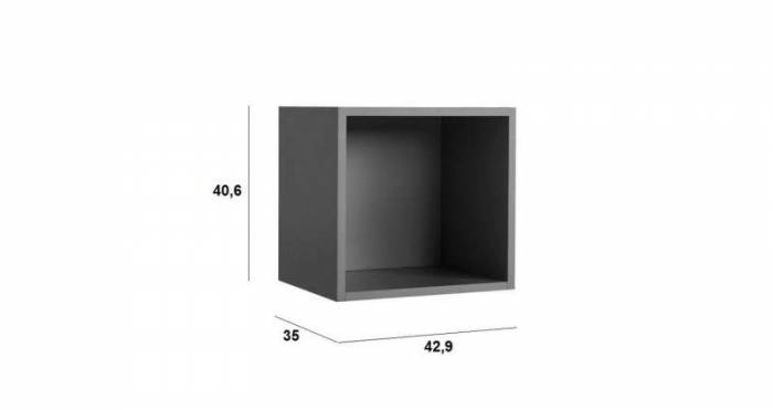 Raft de perete Little, 41x35x43 cm, lemn, verde petrol