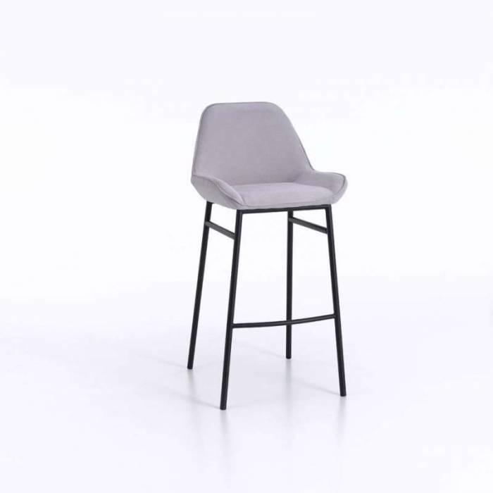 Set 2 scaune de bar Montgomery, 105x41x50 cm, metal/microfibră, gri
