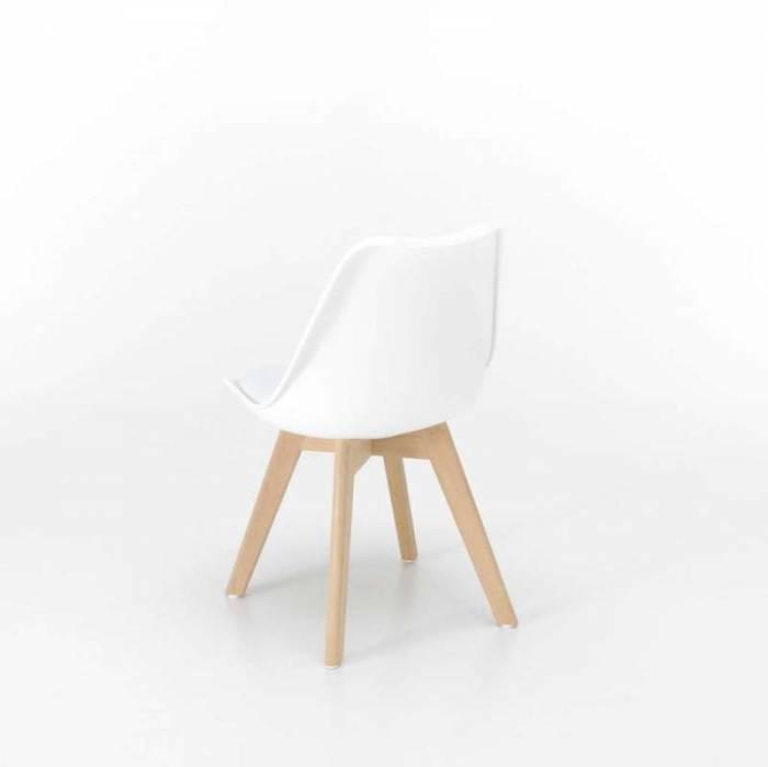 Set 4 scaune de dining Barth, 82x47x49 cm, lemn/pvc/ecopiele, alb