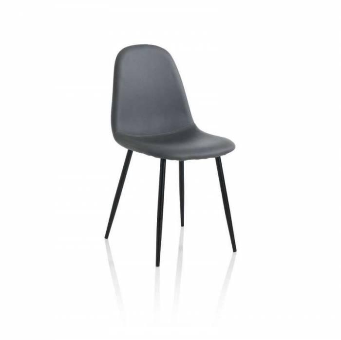 Set 4 scaune de dining Datia, 85x50x44 cm, metal/ ecopiele, gri