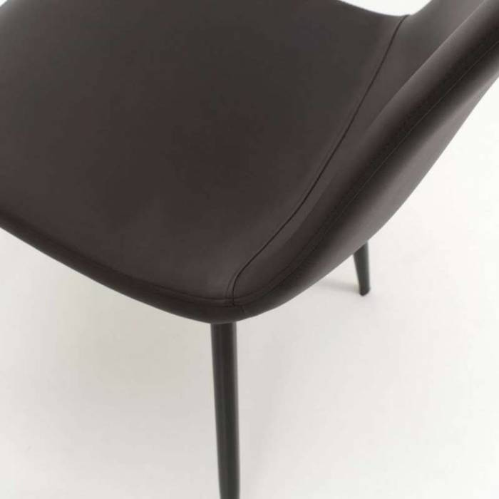 Set 4 scaune de dining Datia, 85x50x44 cm, metal/ecopiele, maro