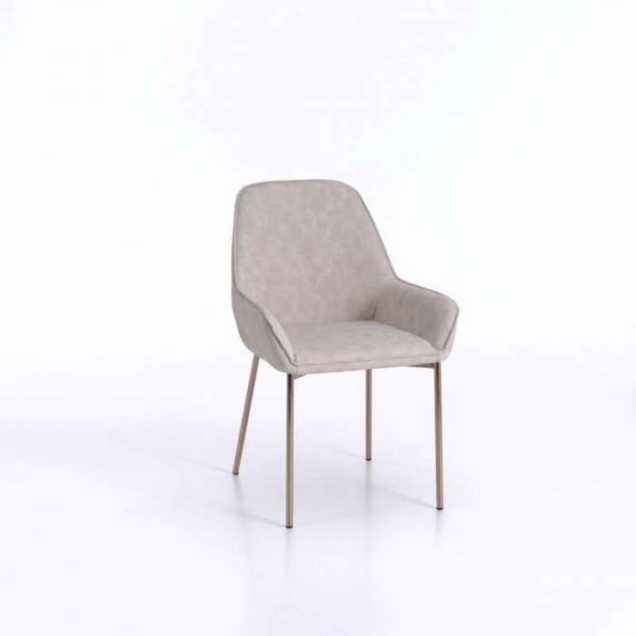 Set 4 scaune de living Montgomery, 89x53x54 cm, metal/ecopiele, bej