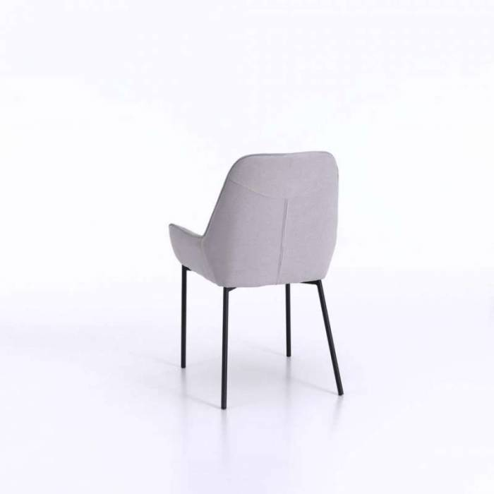 Set 4 scaune de living Montgomery, 89x53x54 cm, metal/microfibră, gri