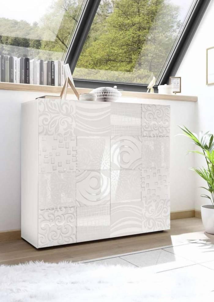 Bufet Brez, 110x42x120 cm, melamină, alb