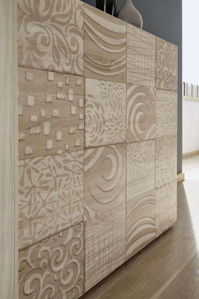Bufet Brez, 84x42x180 cm, melamină, maro