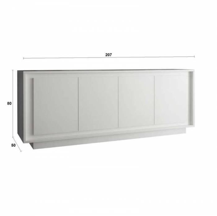 Bufet Frame, 80x50x207 cm, melamină, alb