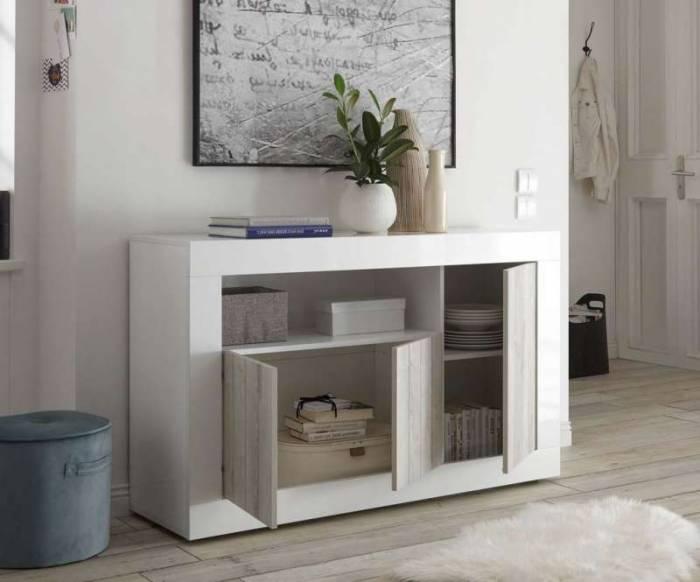 Bufet Lipari, 86x42x138 cm, melamină, alb