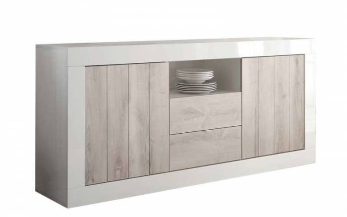 Bufet Lipari, 86x42x184 cm, melamină, alb