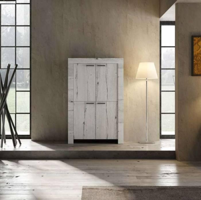 Bufet Sax, 158x43x102 cm, melamină, alb